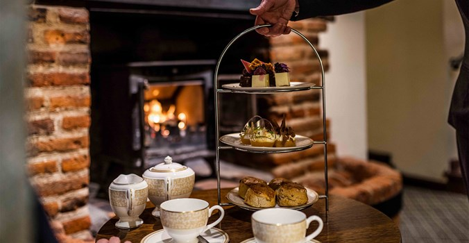 The Swan at Lavenham Hotel & Spa - Afternoon Tea by the fireplace