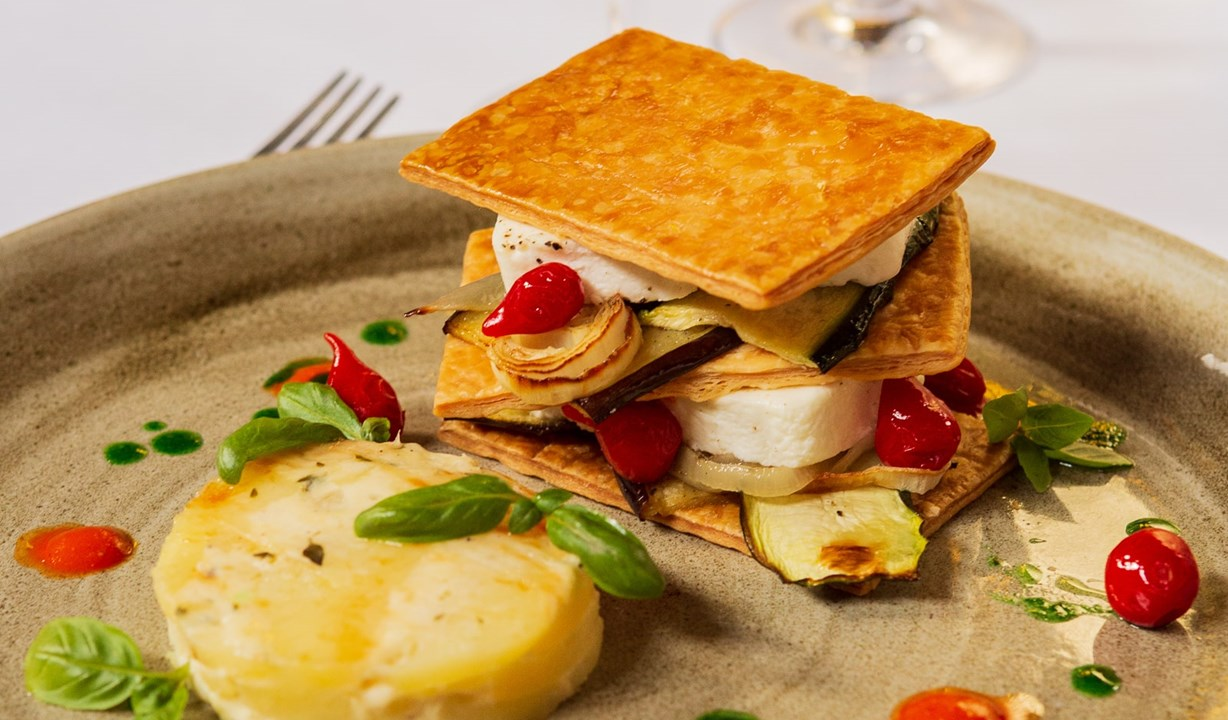 Goats Cheese and Provencale Vegetable Mille Feuille